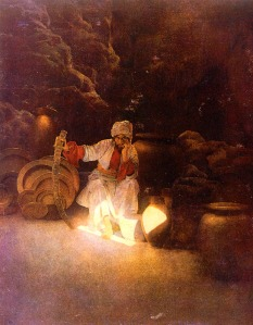 """Illustration of Ali Baba by Maxfield Parrish from """"Arabian Nights,"""" 1909. (Credit:  Wikimedia Commons)"""