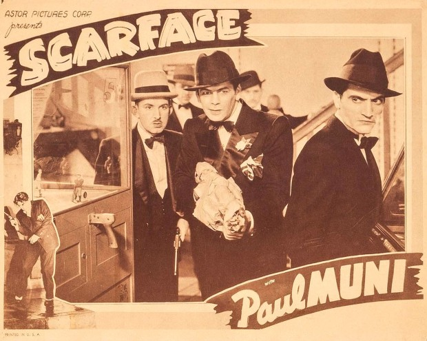 Lobby card for the 1932 film Scarface. (Credit:  Wikimedia Commons)